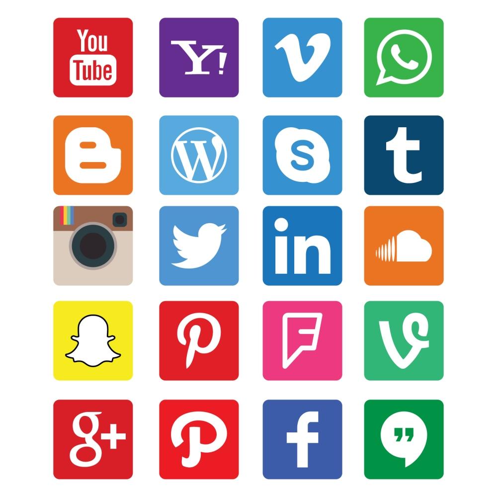 free download 20 social media icon app on flat design